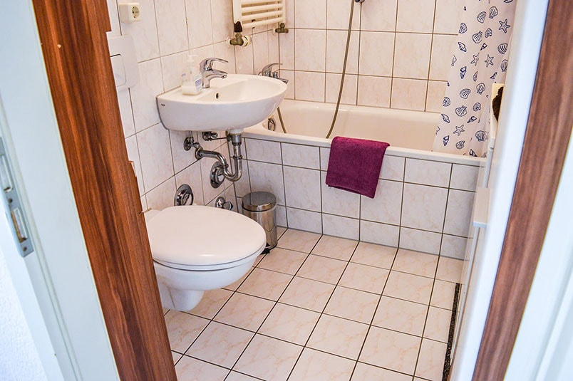 Pension M14 Monteurwohnung Ferienwohnung Lößnig Badezimmer
